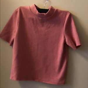Zara pink turtleneck crop top
